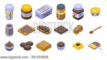Chocolate Paste Icons Set. Isometric Set Of Chocolate Paste Vector Icons For Web Design Isolated On