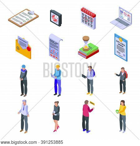 Assignment Icons Set. Isometric Set Of Assignment Vector Icons For Web Design Isolated On White Back