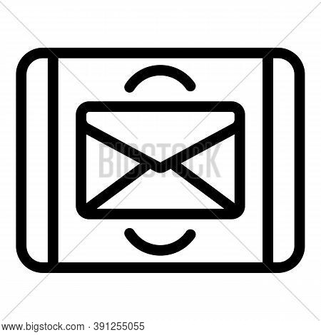 Tablet Mail Request Icon. Outline Tablet Mail Request Vector Icon For Web Design Isolated On White B