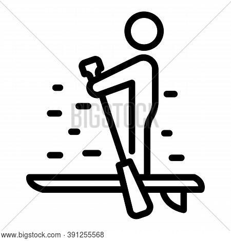 Silence Sup Surfing Icon. Outline Silence Sup Surfing Vector Icon For Web Design Isolated On White B