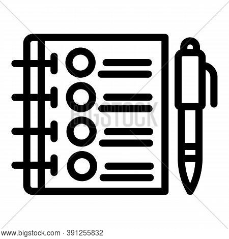 Notebook Exam Test Icon. Outline Notebook Exam Test Vector Icon For Web Design Isolated On White Bac