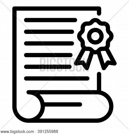 College Graduation Diploma Icon. Outline College Graduation Diploma Vector Icon For Web Design Isola