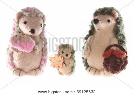 Handmade Hedgehog Family Horizontal