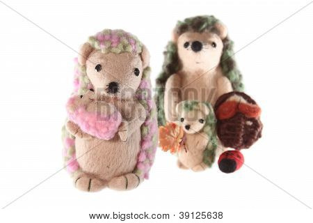 Handmade Hedgehog Toy Family Horizontal