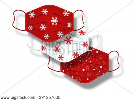Christmas Pattern Of Surgical Masks. Industrial Safety Mask, Dust Protection Respirator And Breathin