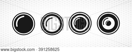 Camera Objective Isolated Solid Vector Icon On White Background