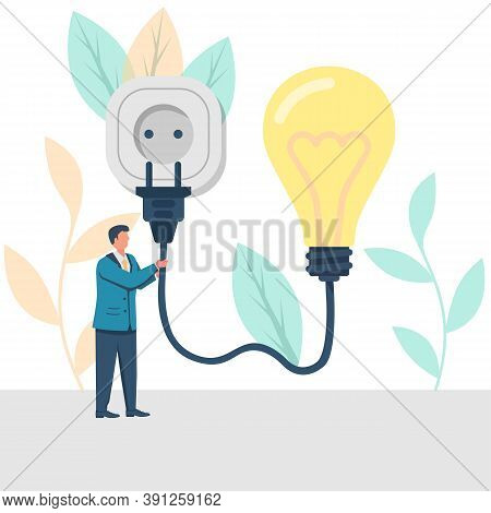 Connect Idea. Businessman Holding Lightbulb, Cord Electrical Plug Connected To Power Outlet. Plug In