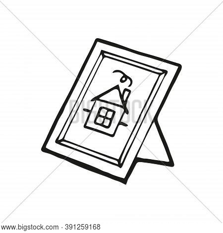 Hand Drawn Picture Of A Cute House In A Frame On A White Background. Funny Element In Trendy Doodle