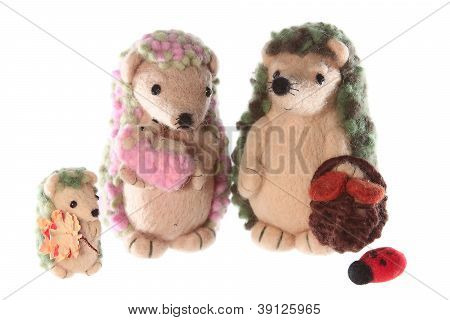 Handmade Hedgehog Toy Family Together