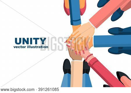 Unity Concept. Top View Of A Group Of Young Business People, Holding Hands Together. Unity And Teamw