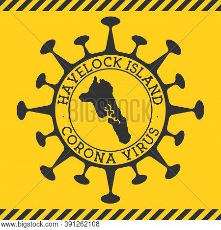 Corona Virus In Havelock Island Sign. Round Badge With Shape Of Virus And Havelock Island Map. Yello