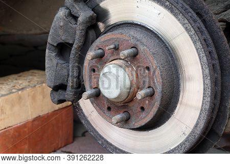 Brake Disc And Brake Calipers Of Vehicle. Car Brake Pad. Car Service. Automobile Braking System