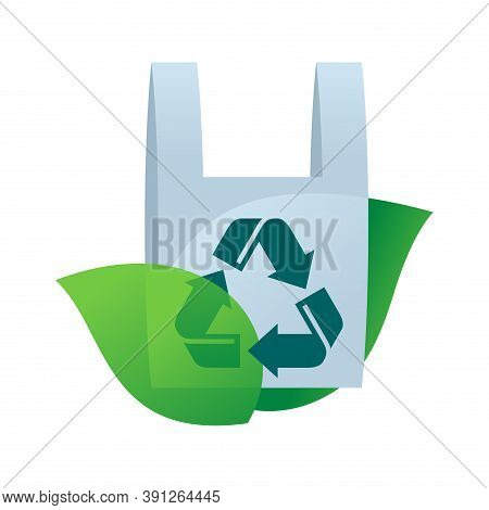 Biodegradable Plastic Bag - Eco Friendly Sticker With Green Leaves And Pack - Isolated Ecology Prote