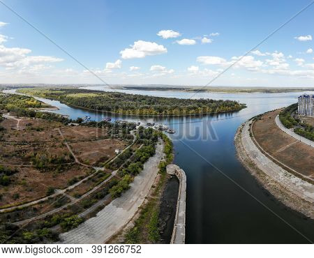 The Confluence Of The Volga River And The Volga-don Lenin Shipping Canal. Volgograd. Russia.