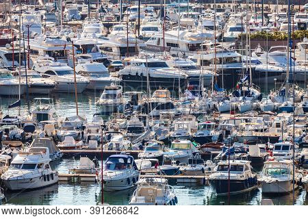 Rapallo, Italy. October 20, 2020: Countless Boats In The Italian Port Of Rapallo In The Ligurian Sea