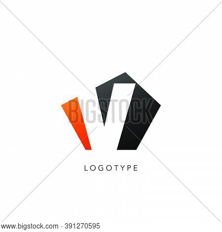 Initial Letter V Logo Icon Design. Vector Design Concept Abstract Techno Geometrical Shape With Nega