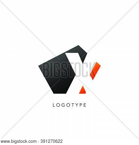 Initial Letter X Logo Icon Design. Vector Design Concept Abstract Techno Geometrical Shape With Nega