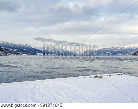 Vik Skisenter, Røysane, Norway. Wonderful View Of Sognefjord In Winter.