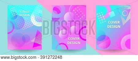 Memphis Modern Geometric Design Cover Templates. Trendy Geometric Memphis Design Background. Applica