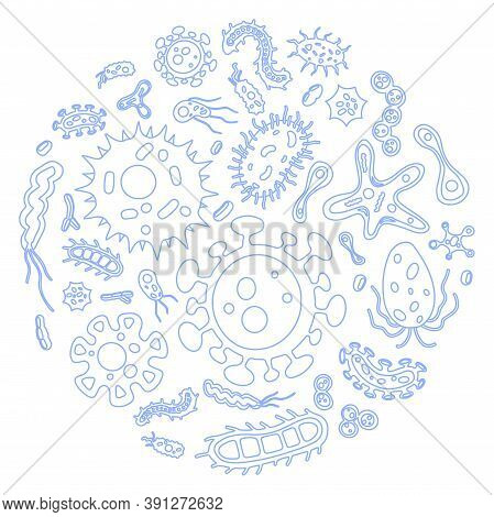 Vector Collection Of Flat Virus And Microbe Illustrations In Circle. Bacterium Outlined Icon Set. Co