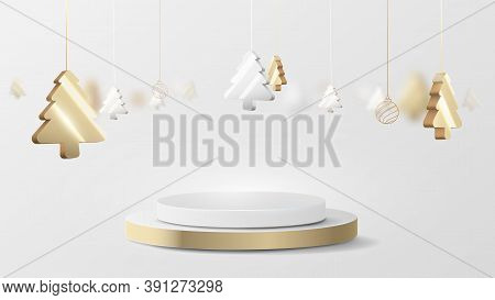 3d Luxury Gold And Silver Circle Podium Display With Christmas Tree Hanging Element. Vector Illustra