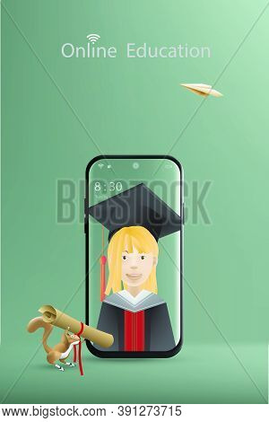 Online Education With A Concept Of Learning Offers Mobile Phone, Girl Cartoon Character With Bachelo