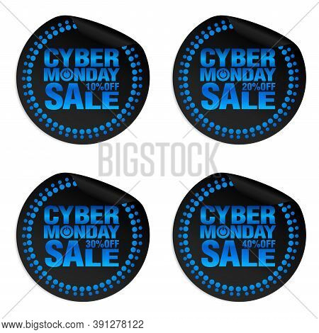 Cyber Monday Sale Power Stickers Set 10%, 20%, 30%, 40% Off. Vector Illustration