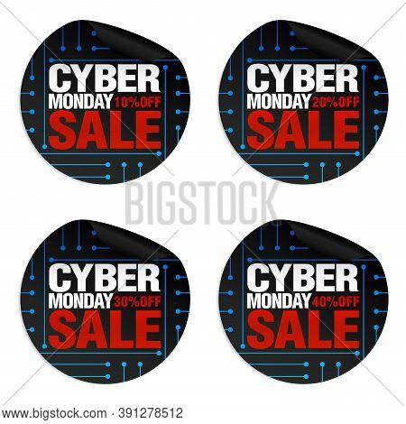 Cyber Monday Sale Stickers Set 10%, 20%, 30%, 40% Off. Vector Illustration