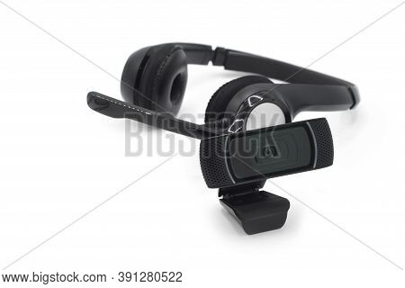 Headphones With Mic And A Webcam, Concept Of Smart Working Or Online Communications.