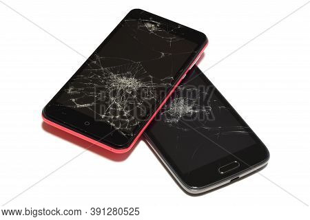 Smartphone With Broken And Cracked Screen Isolated On White Background