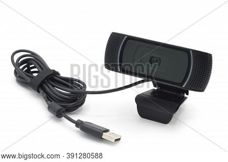 Detail Of Webcam Isolated On White Background.