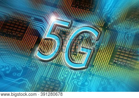 5g Word On Technology Abstract Background With Cpu Processors. Concept Of 5g Network Communication O