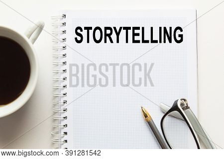 Text Storytelling N A Magnifying Glass, Office Concept, Business Concept, Finance