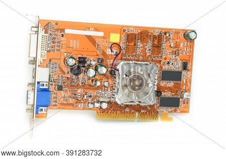 Detail Of Modern Computer Graphic Card Isolated On White