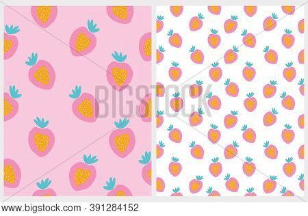 Cute Abstract Strawberries Vector Patterns Set. Simple Infantile Style Sweet Fruits Print. Funny Han