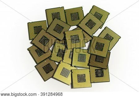 Many Computer Cpu Chips Isolated On White