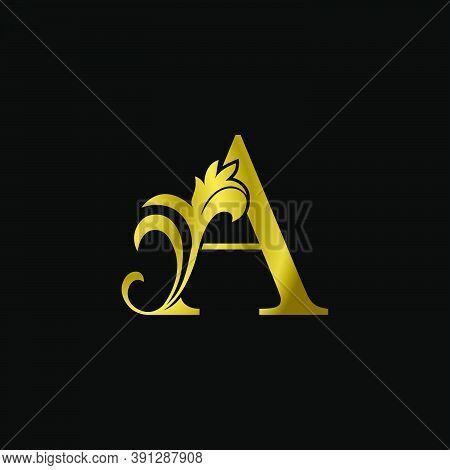Golden A Initial Letter Luxurious Logo Icon, Vintage Luxury Vector Design Concept Outline Alphabet L