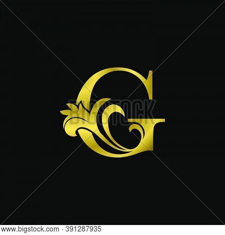 Golden G Initial Letter Luxurious Logo Icon, Vintage Luxury Vector Design Concept Outline Alphabet L