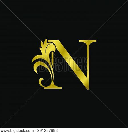 Golden N Initial Letter Luxurious Logo Icon, Vintage Luxury Vector Design Concept Outline Alphabet L