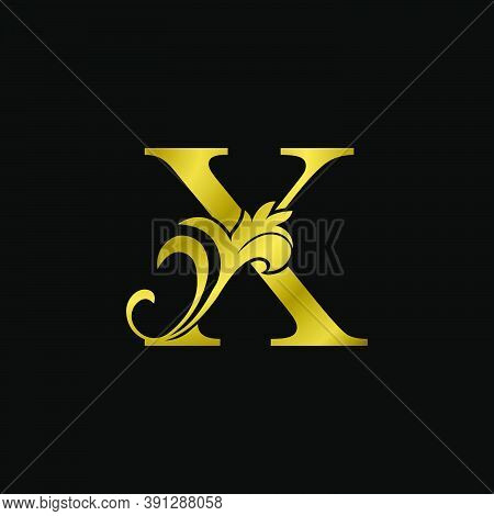 Golden X Initial Letter Luxurious Logo Icon, Vintage Luxury Vector Design Concept Outline Alphabet L