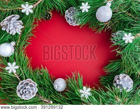 Bright New Year Or Christmas Composition, Flat Lay, Copyspace. Festive Frame Or Wreath Of Christmas