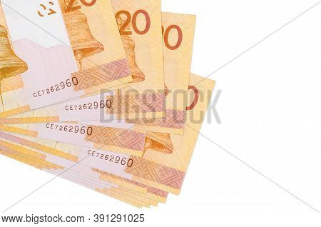 20 Belorussian Rubles Bills Lies In Small Bunch Or Pack Isolated On White. Mockup With Copy Space. B