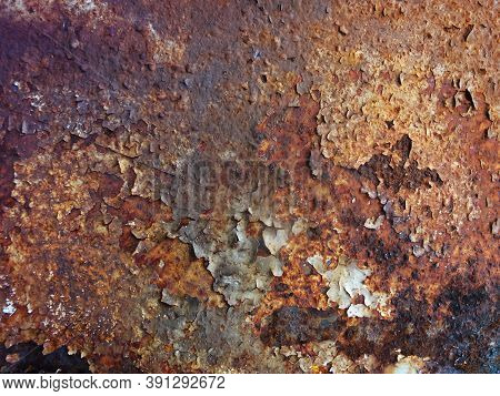 Rusty Metal Texture Or Rusty Metal Background. Grunge Retro Vintage Of Rusty Metal Plate For Design