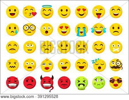 Cartoon Emoji. Smile Emoticon Symbols. Digital Chat Icons. Online Messenger Sticker. Yellow And Red