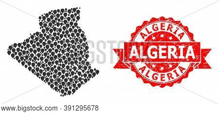 Pin Mosaic Map Of Algeria And Grunge Ribbon Stamp. Red Stamp Seal Has Algeria Title Inside Ribbon. A