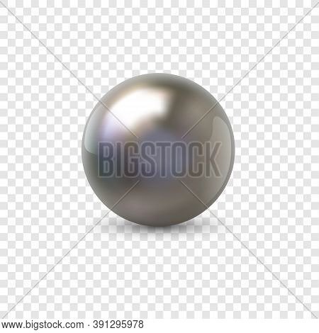Metal Sphere. Realistic Shiny 3d Ball From Plastic, Steel Or Chrome Material. Silver Volumetric Circ