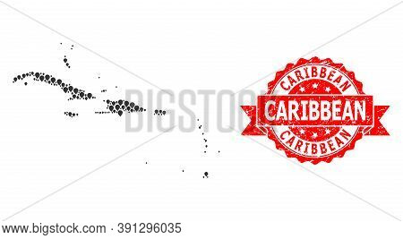 Pointer Mosaic Map Of Caribbean Islands And Scratched Ribbon Stamp. Red Stamp Seal Has Caribbean Cap