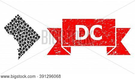 Marker Mosaic Map Of District Columbia And Scratched Ribbon Stamp. Red Stamp Includes Dc Text Inside