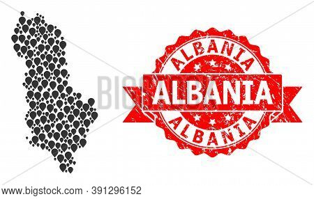 Pointer Collage Map Of Albania And Grunge Ribbon Seal. Red Stamp Seal Contains Albania Tag Inside Ri