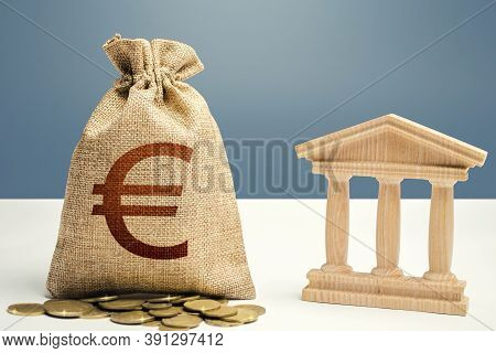 Euro Money Bag And Bank / Government Building. Budgeting, National Financial System. Lending Loans,